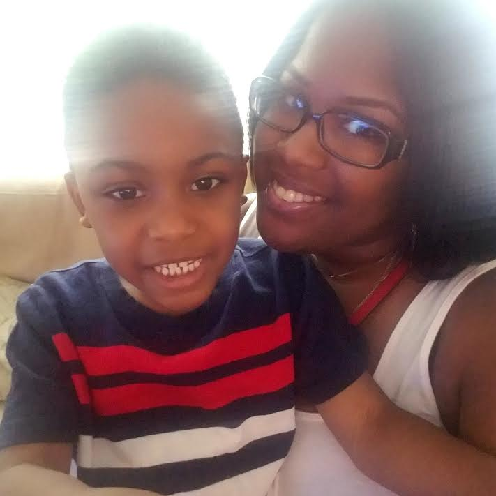 Ericka Johnson with her son.