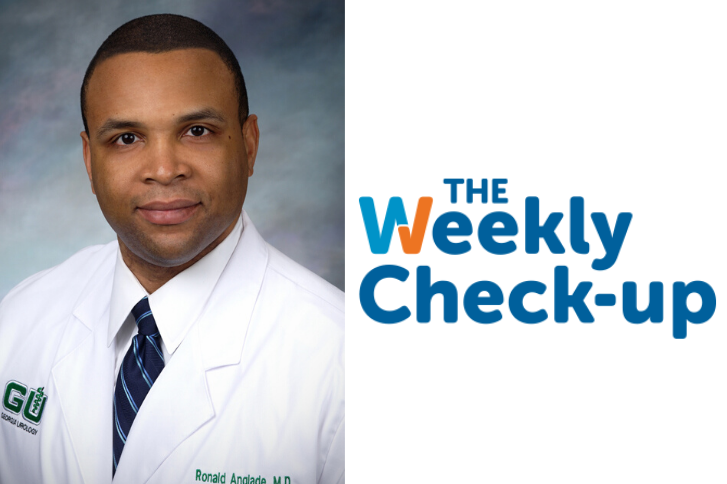 Dr. Anglade headshot with Weekly Check-up logo.