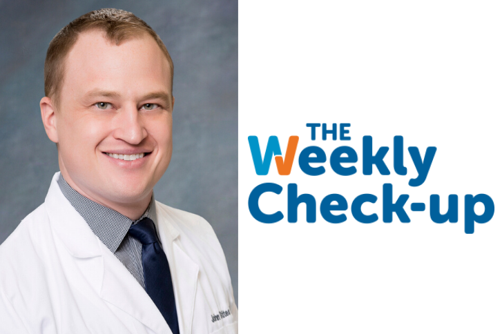 Headshot of Dr. Stites and the Weekly Check-up Logo.