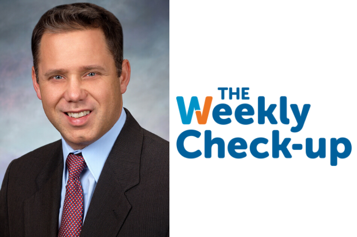 Headshot of Dr. Elmore and Weekly Check-up Logo