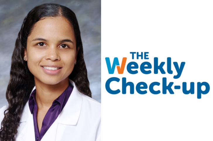 Photo of Dr. Msezane and the Weekly Check-up Logo.