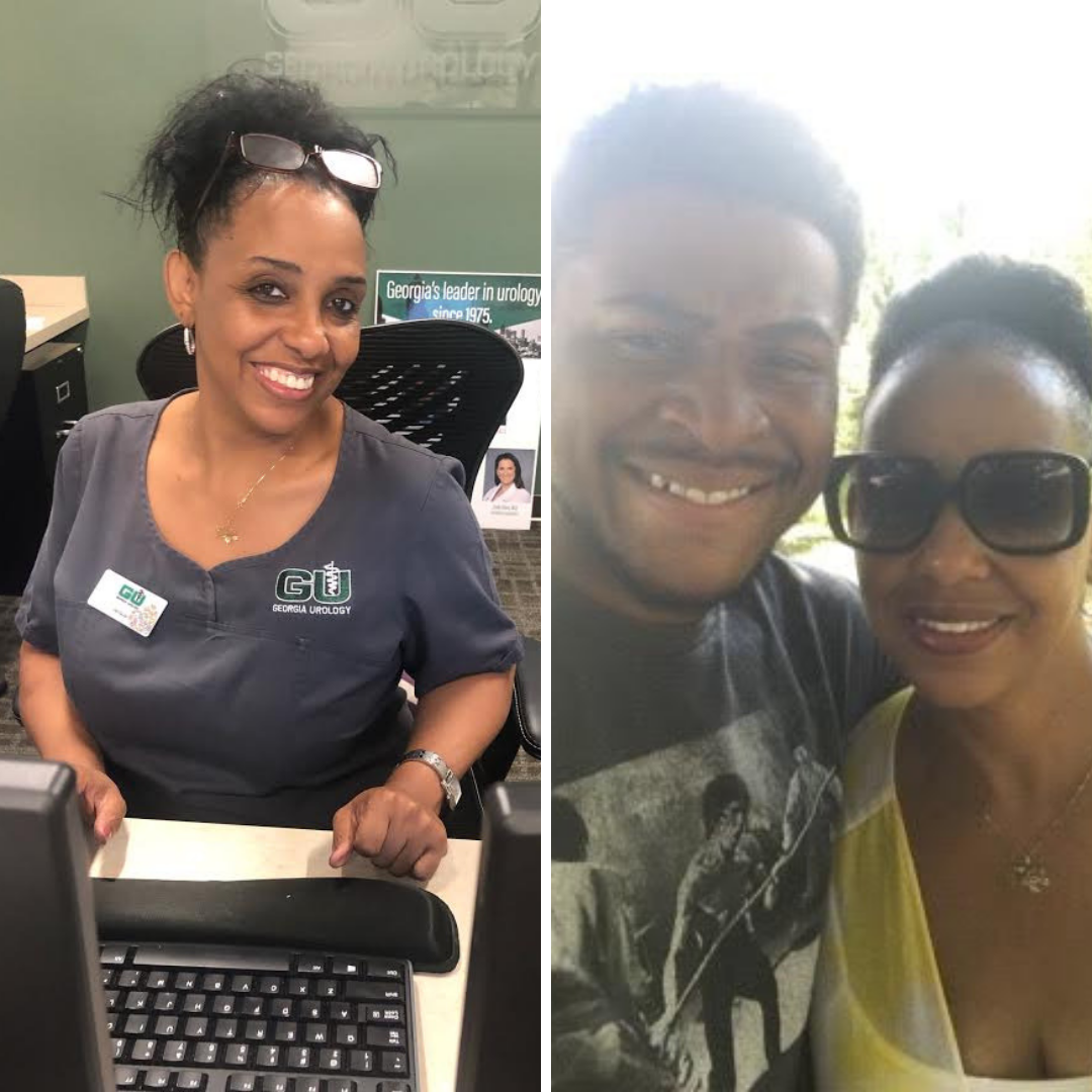Two photos of Jacquar. The one on the left is her smiling at the Georgia Urology office, and the one on the right is her with her son.