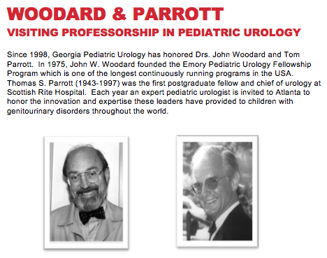 Woodward & Parrott Visiting Professorship in Pediatric Urology.