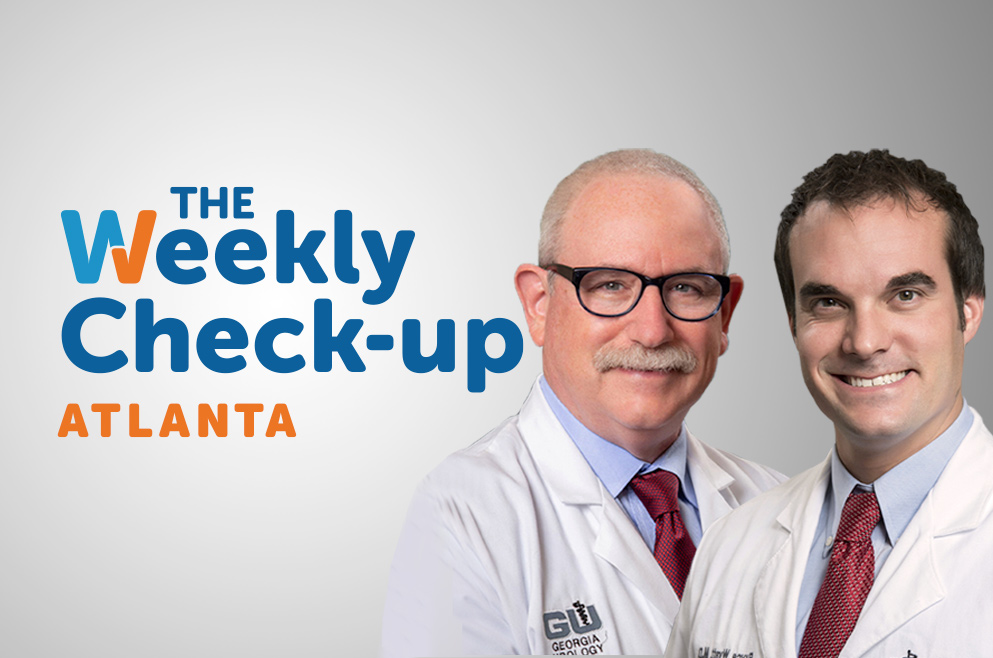 Headshots of Dr. Wyatt and Dr. Scherz with The Weekly Check-Up Logo.