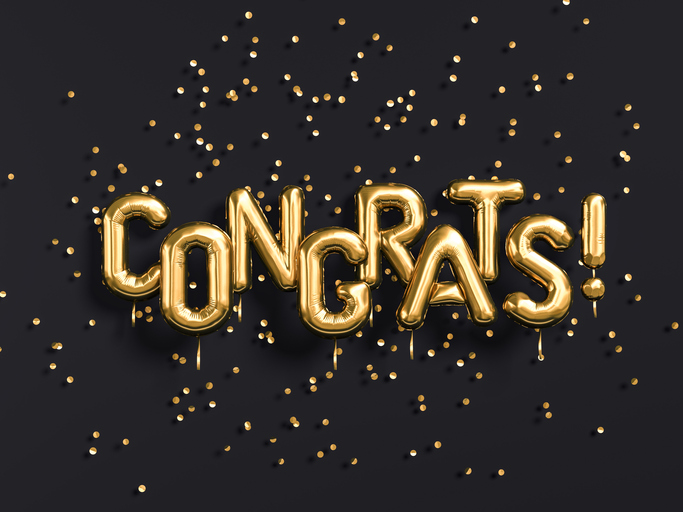 Congrats text with golden confetti. Congratulations banner. 3d rendering.
