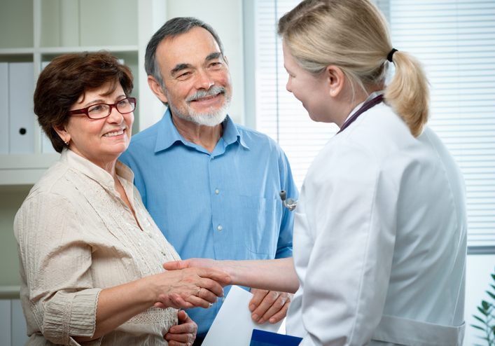 senior couple visiting a doctor