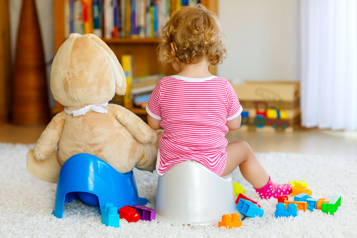 Closeup of cute little 12 months old toddler baby girl child sitting on potty. Kid playing with big plush soft toy. Toilet training concept. Baby learning, development steps.