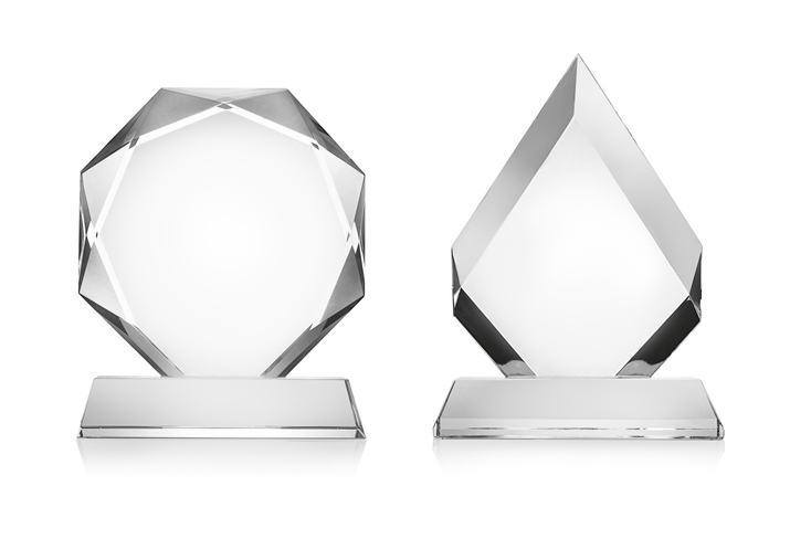 Blank glass trophy mockup isolated on white with clipping path.