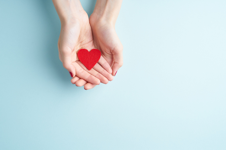 young hands holding or giving a red heart, concept of family and donation or adoption, helth care the medicine concept.