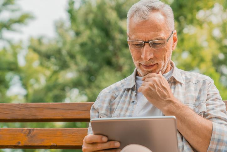 Park, Digital Tablet, Mature Men, Beard, One Person.
