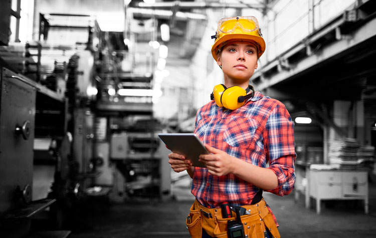 Healthy woman working in construction